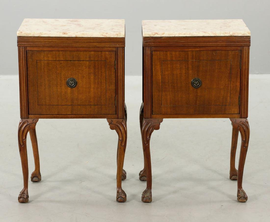 19th/20th C. Pr. of Chippendale Style Marble-top