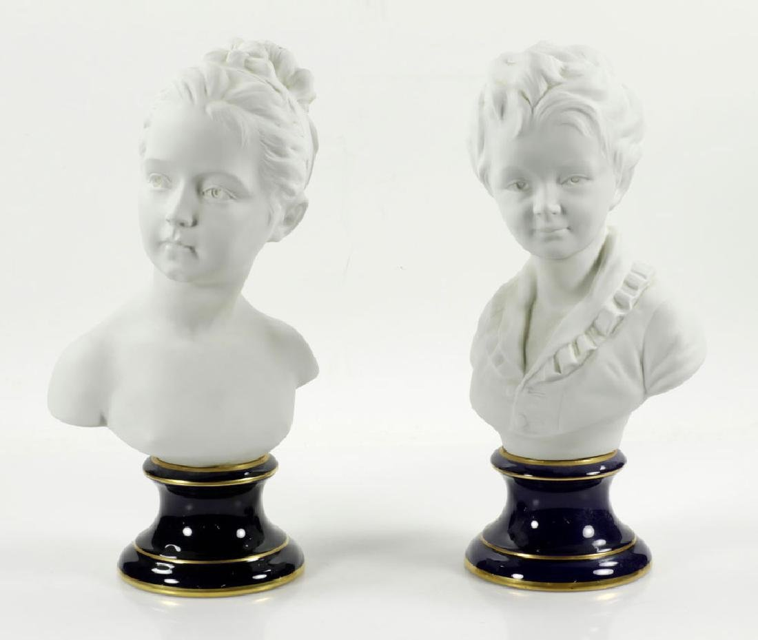 Pair of French Limoges Porcelain Busts
