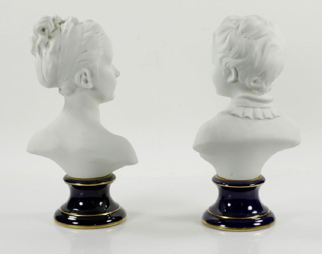 Pair of French Limoges Porcelain Busts - 2