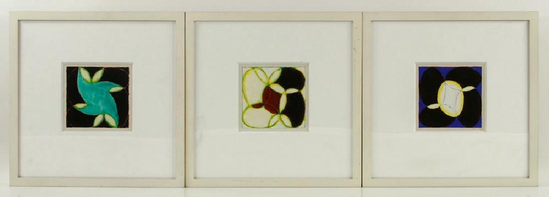 Nazarewycz, Three Abstract Gouache on Paper Works