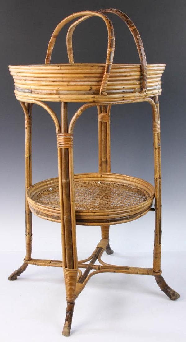 French Wicker Circular Stand - 4