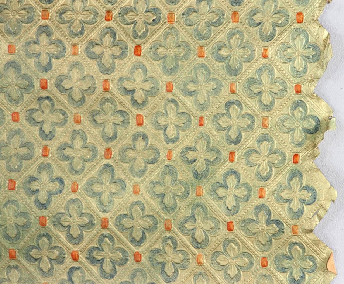 Tooled Painted Leather Wall Covering - 3