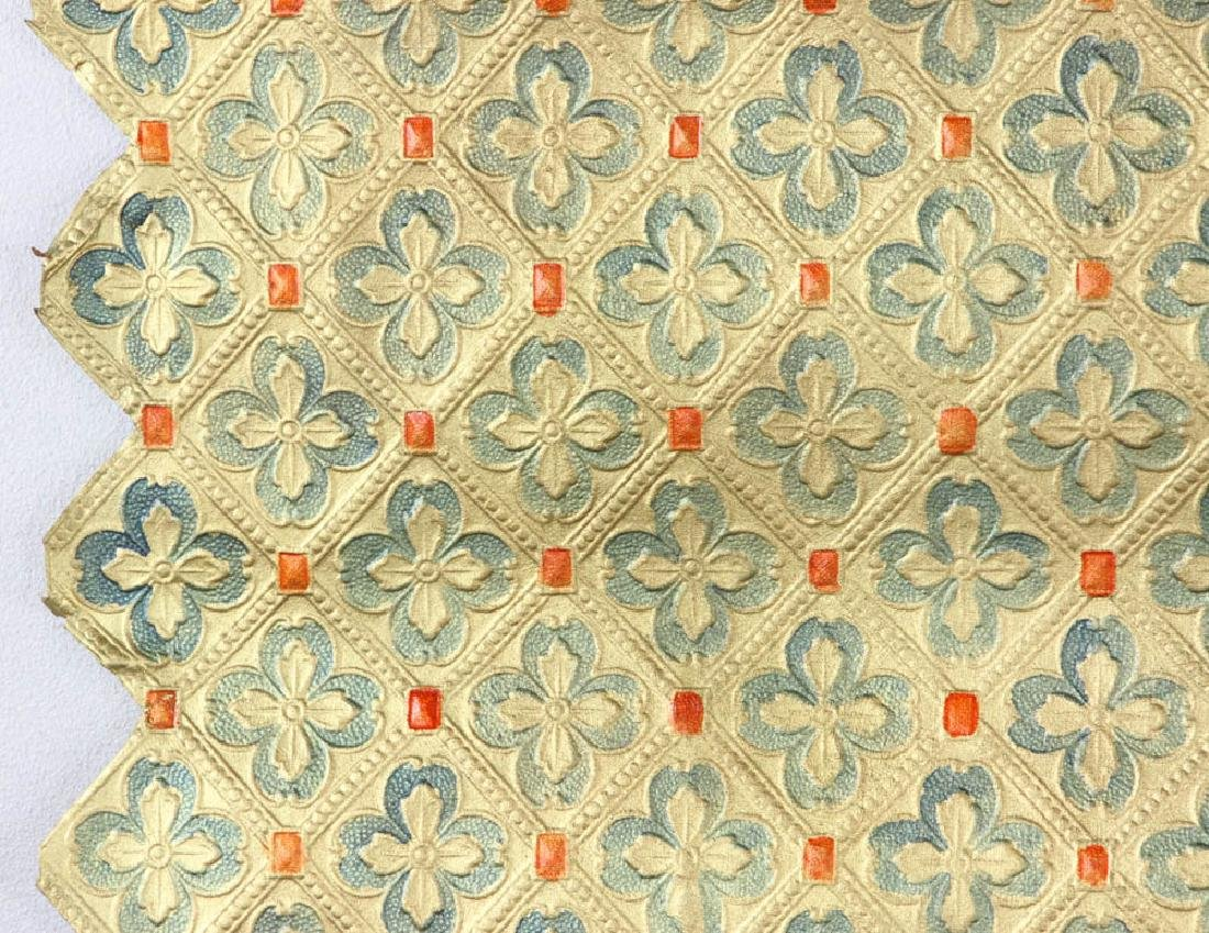 Tooled Painted Leather Wall Covering - 4