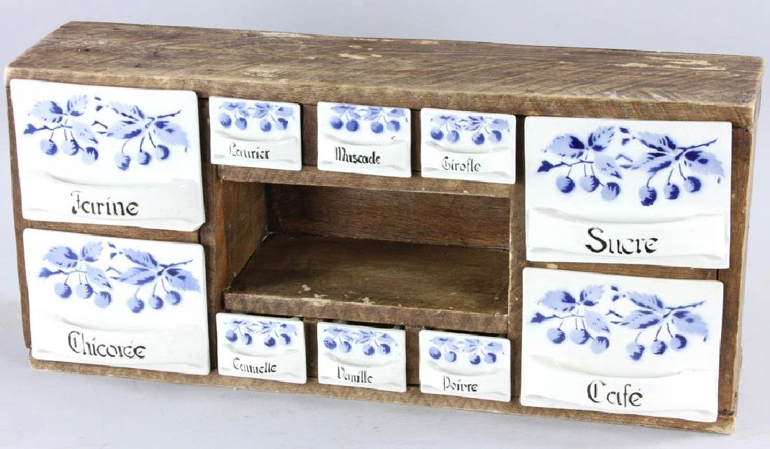 Late 19th C. French 10-drawer Spice Box