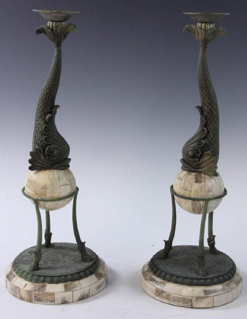 Brass and Bone Dolphin Design Candlesticks