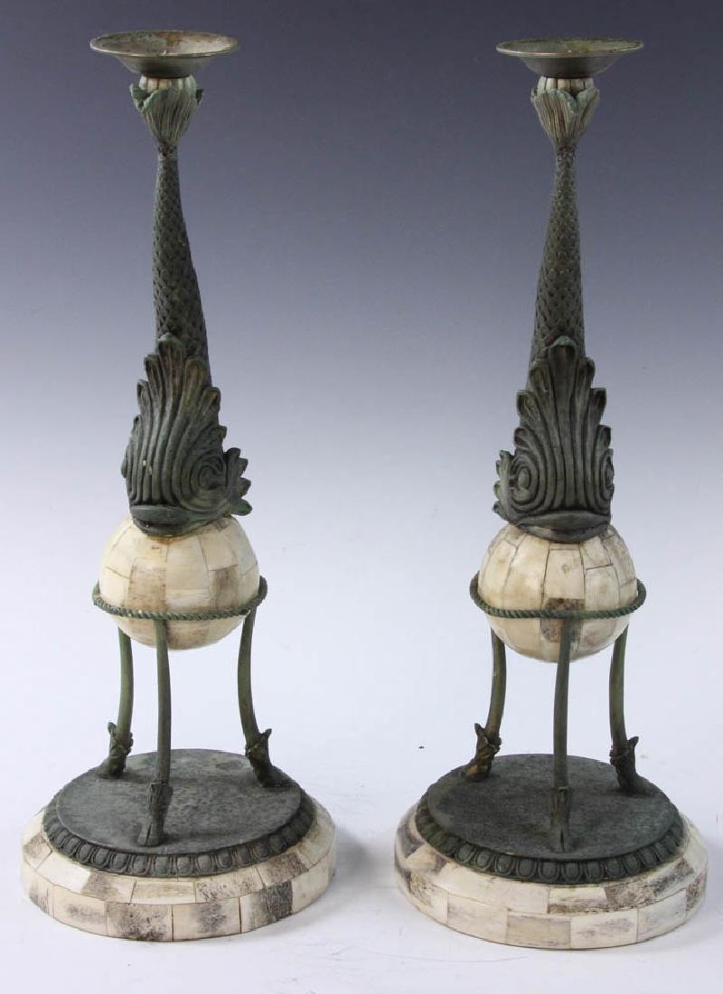 Brass and Bone Dolphin Design Candlesticks - 2