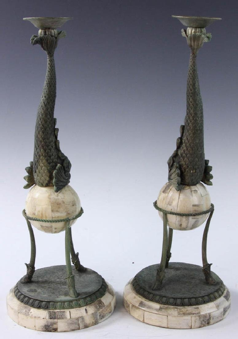 Brass and Bone Dolphin Design Candlesticks - 3