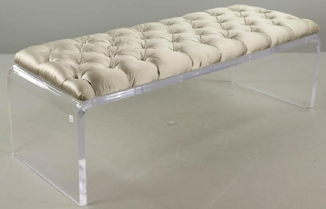 Modern Lucite Upholstered Bench - 2