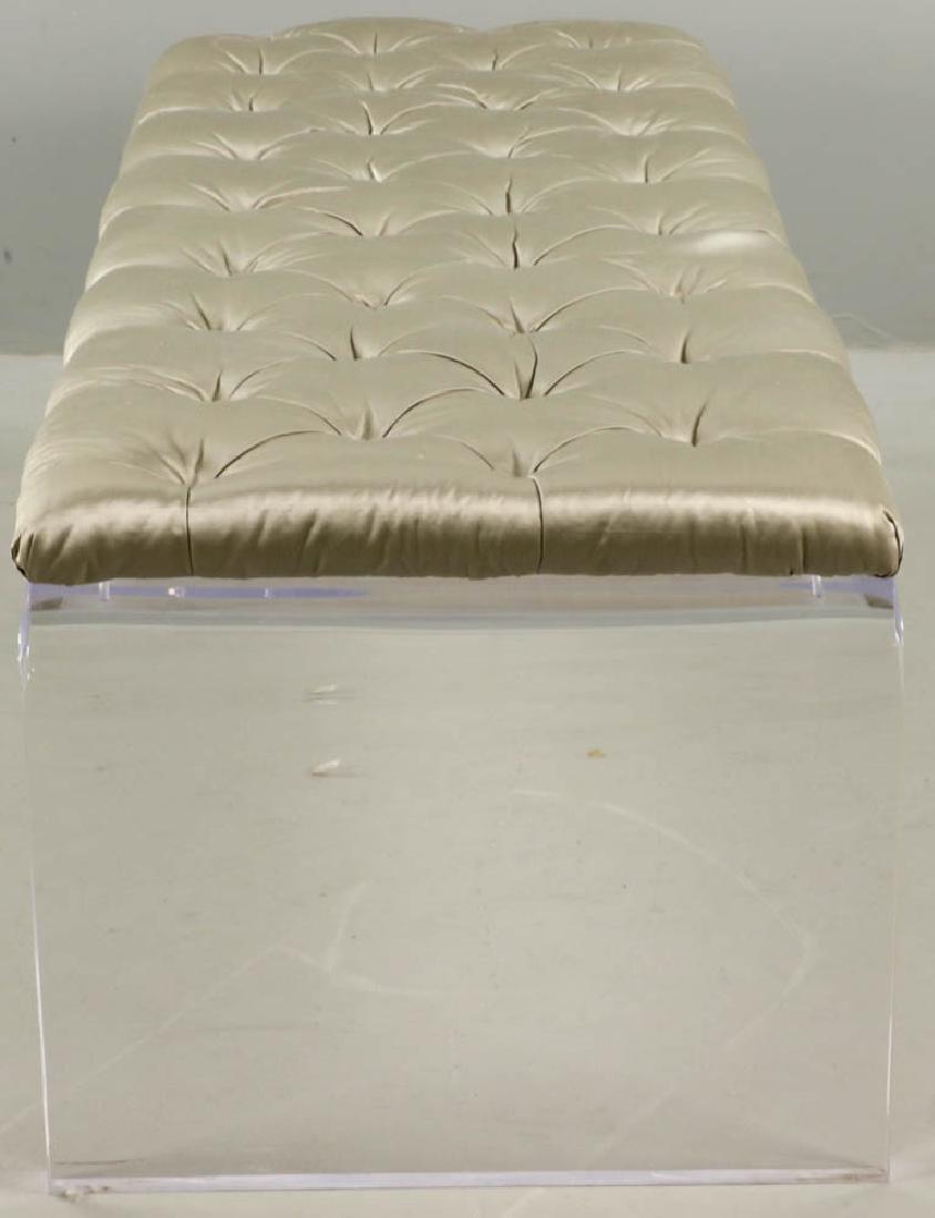 Modern Lucite Upholstered Bench - 3