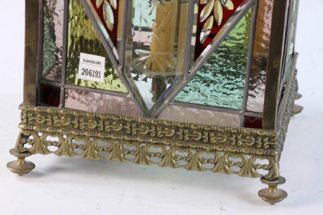 Victorian Brass and Glass Foyer Light - 2