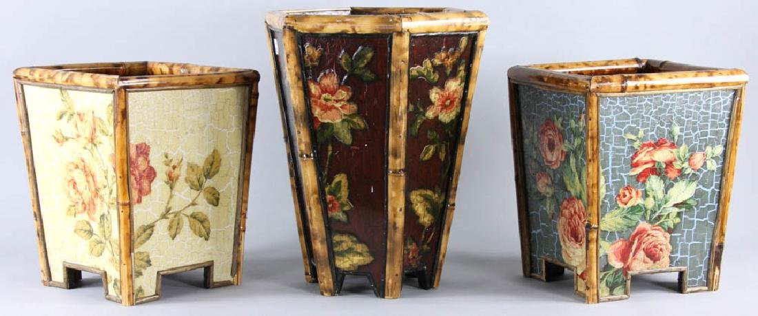 Lot of (3) Painted Waste Baskets