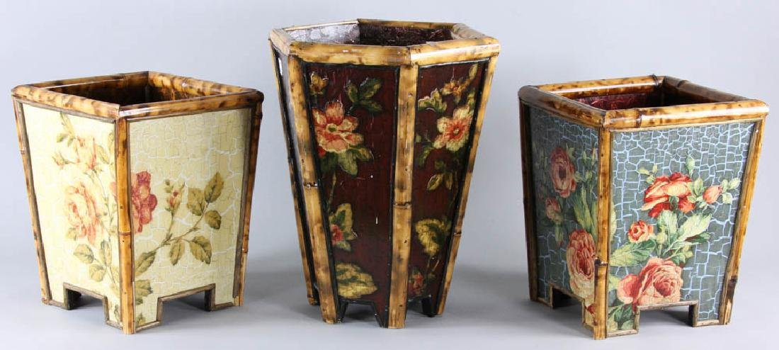 Lot of (3) Painted Waste Baskets - 2