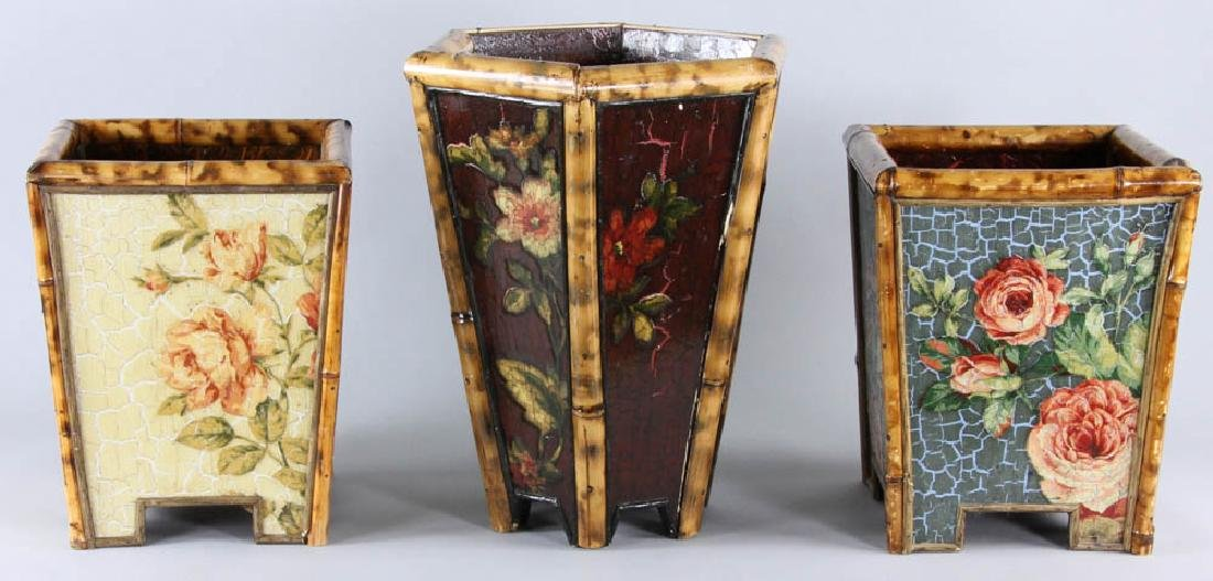 Lot of (3) Painted Waste Baskets - 3