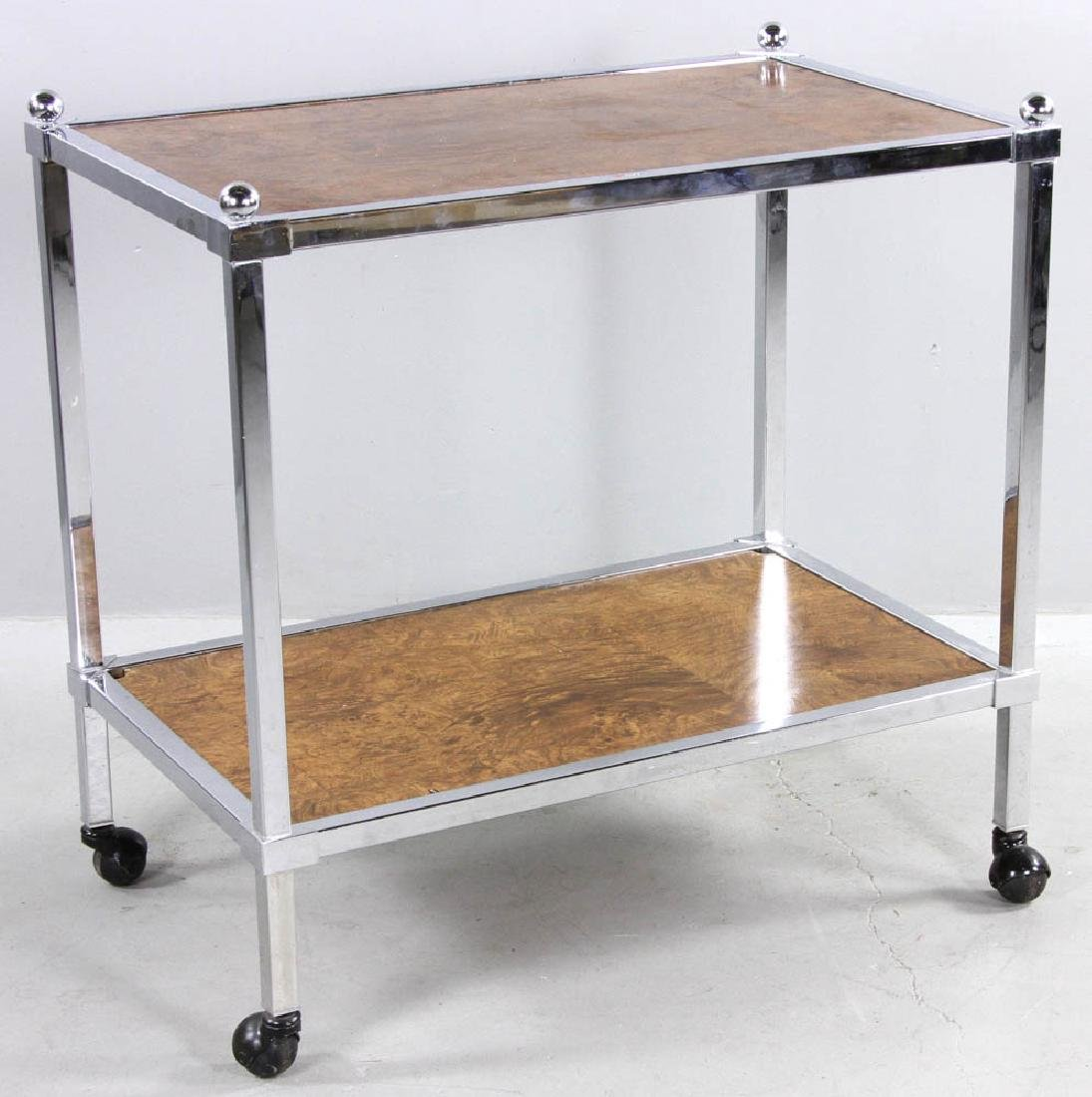 Modern Chrome Trim Rolling Cart