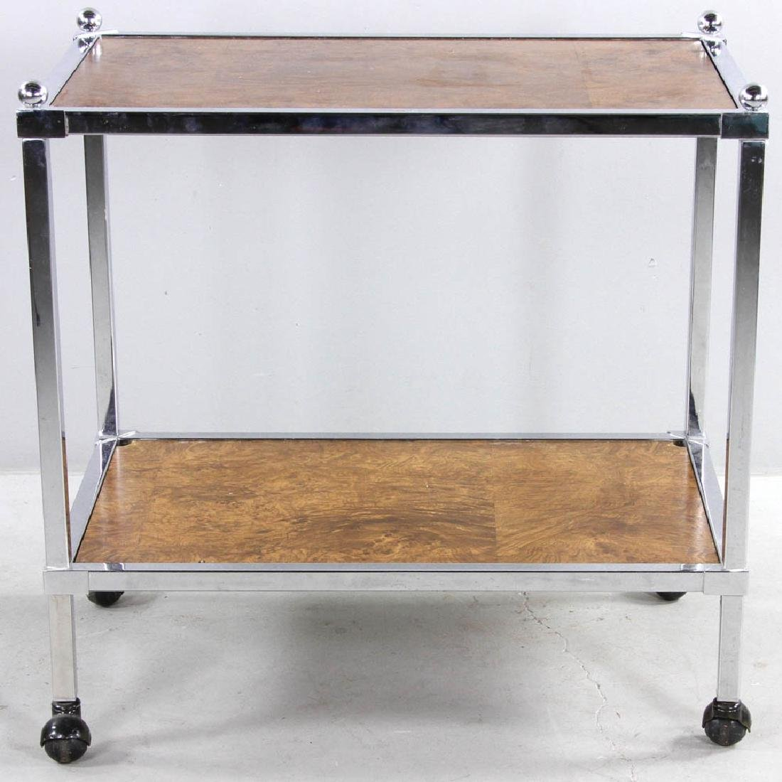 Modern Chrome Trim Rolling Cart - 2