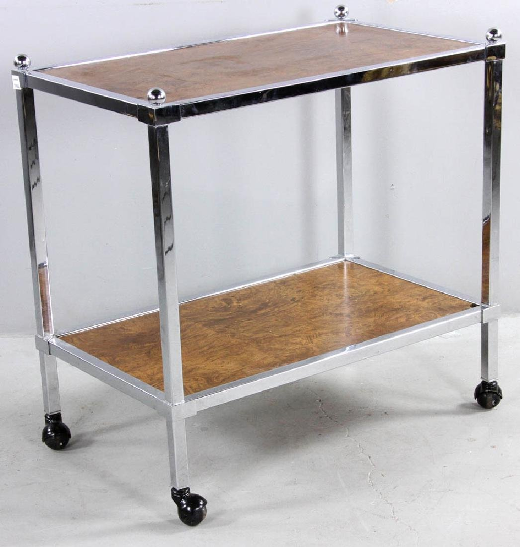 Modern Chrome Trim Rolling Cart - 4