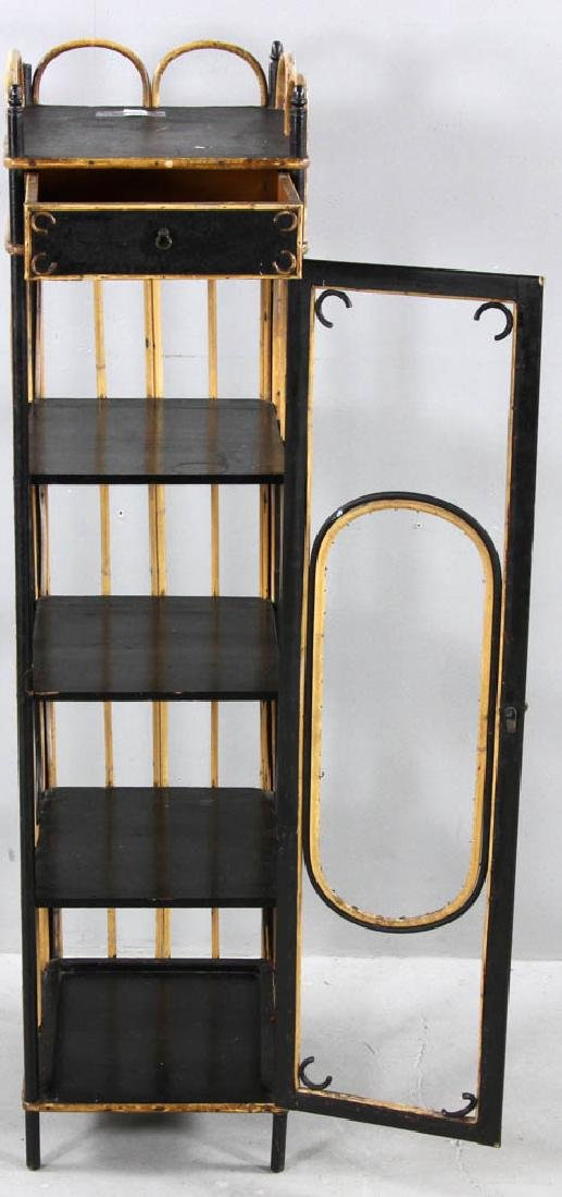 Late 19th C. Painted Rattan Cabinet - 3