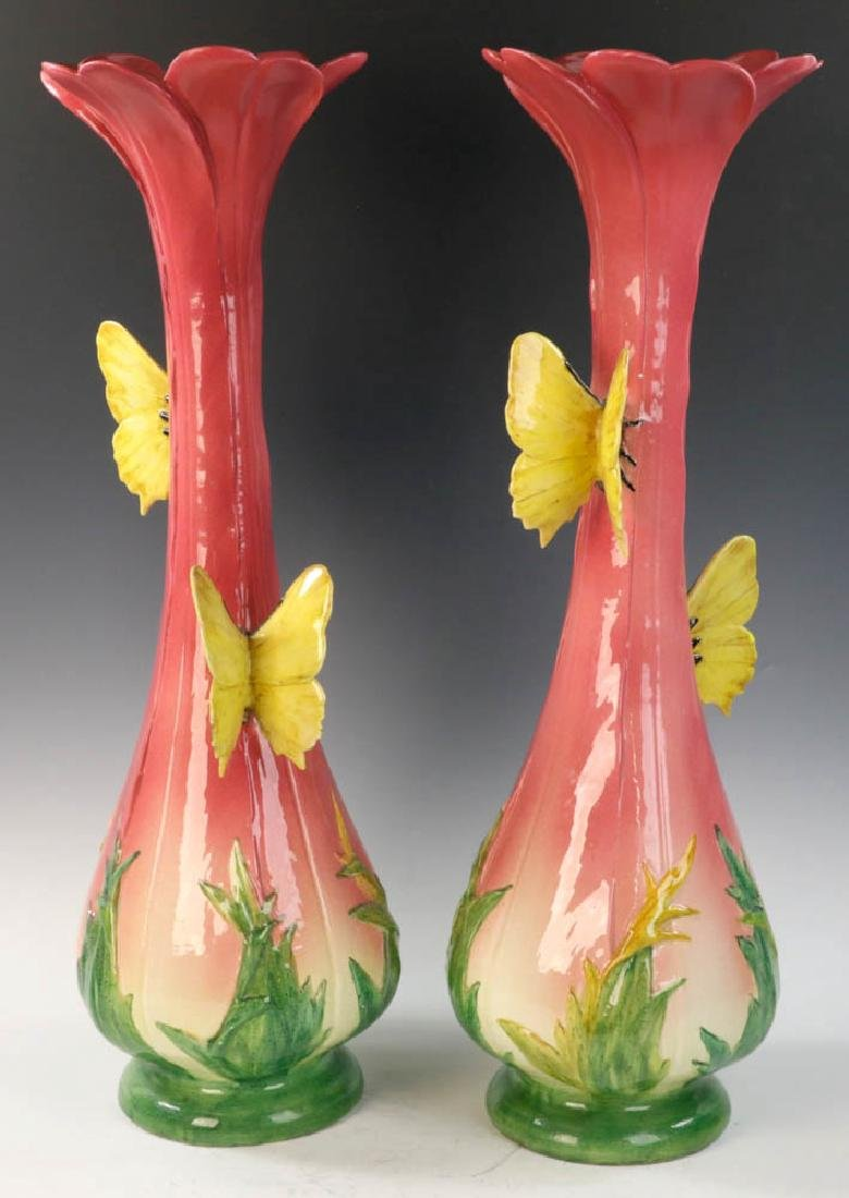 Important Pair of Delphin Massier Pottery Vases - 4