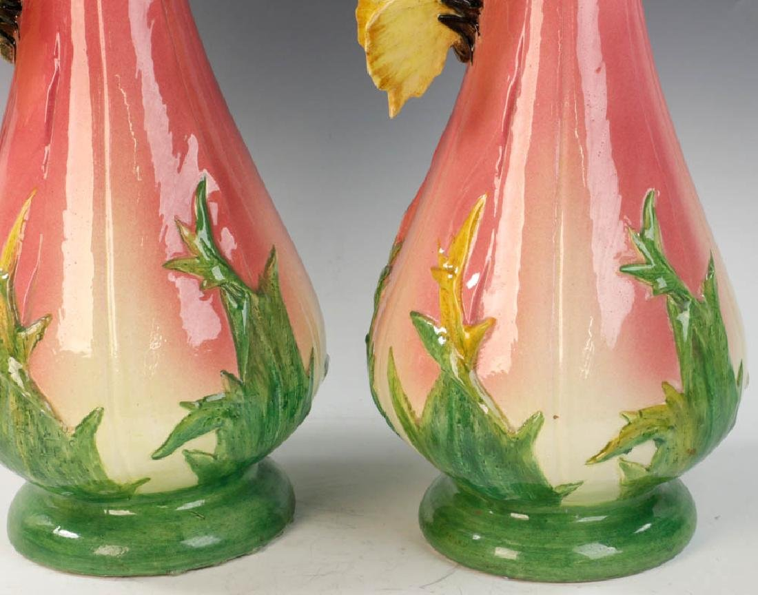 Important Pair of Delphin Massier Pottery Vases - 6