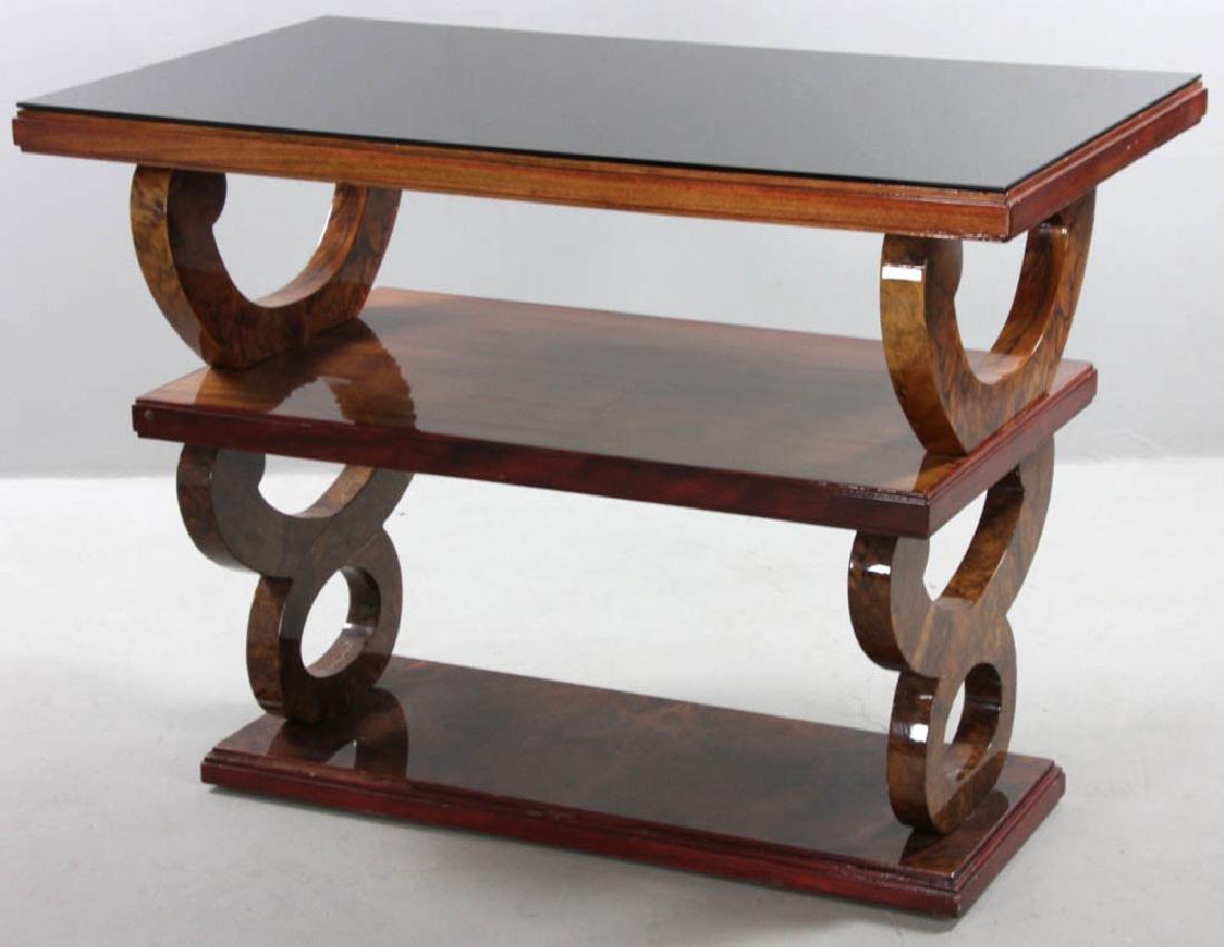 Vintage Deco Mahogany Triple Tier Table