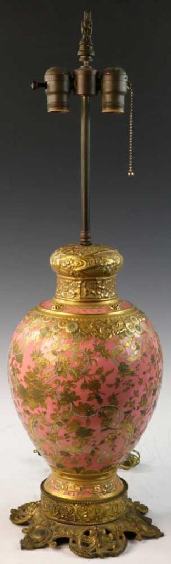C1900 English Gilt Porcelain Lamp