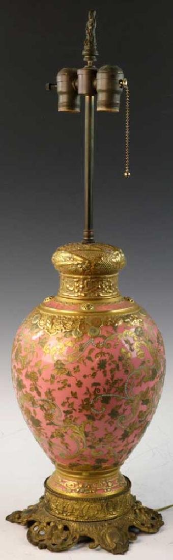 C1900 English Gilt Porcelain Lamp - 2