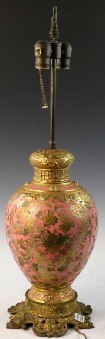 C1900 English Gilt Porcelain Lamp - 3