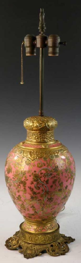 C1900 English Gilt Porcelain Lamp - 4