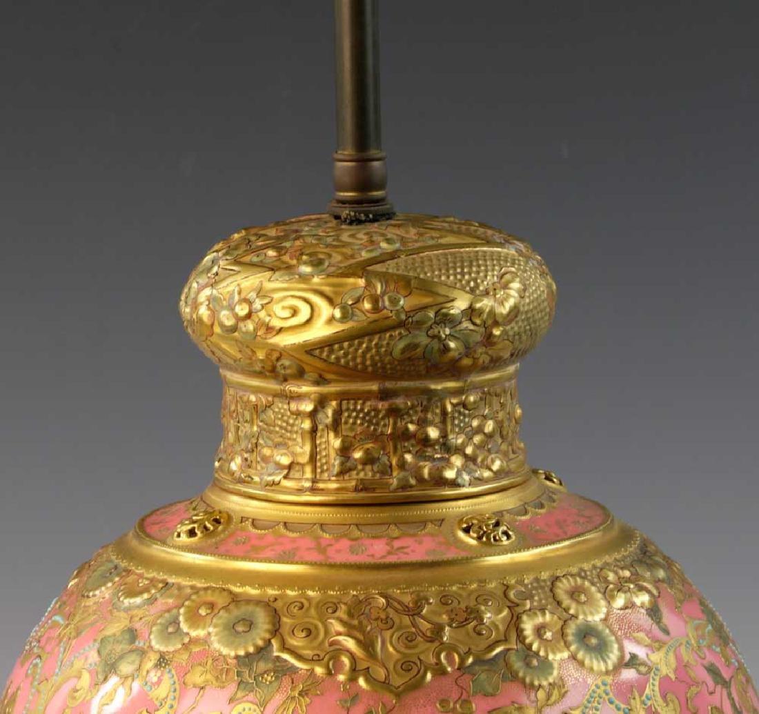 C1900 English Gilt Porcelain Lamp - 5