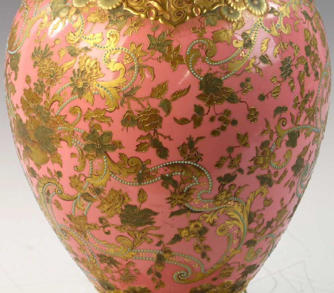 C1900 English Gilt Porcelain Lamp - 6