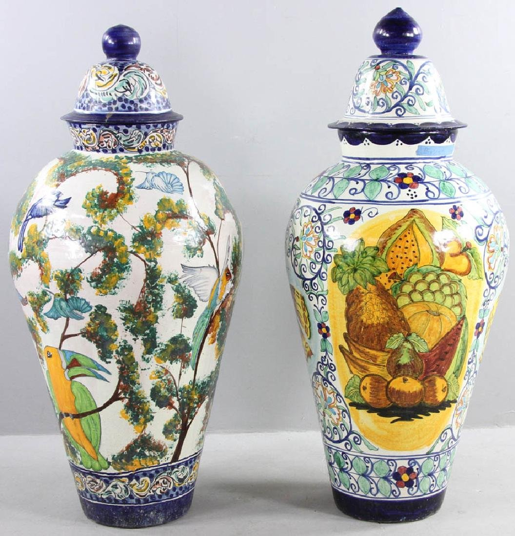 Majolica Decorated Covered Urns