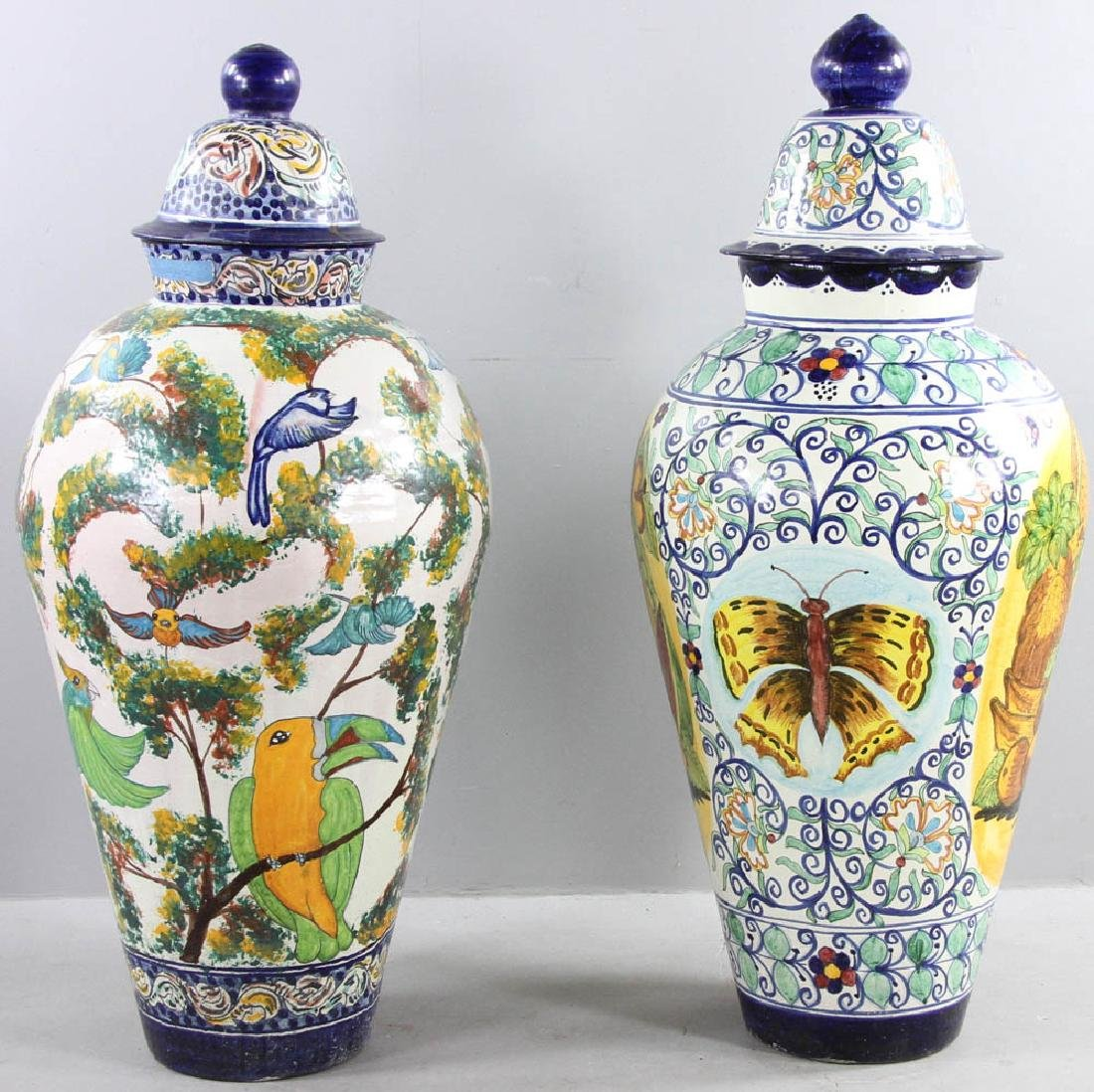 Majolica Decorated Covered Urns - 2
