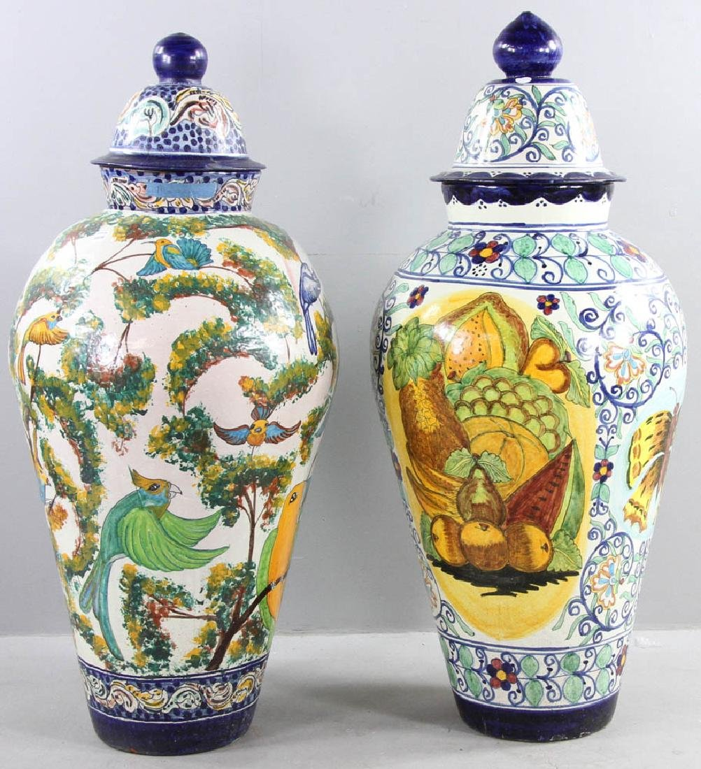 Majolica Decorated Covered Urns - 3