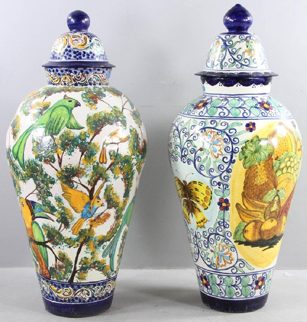 Majolica Decorated Covered Urns - 4