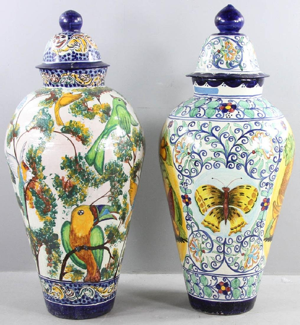 Majolica Decorated Covered Urns - 5