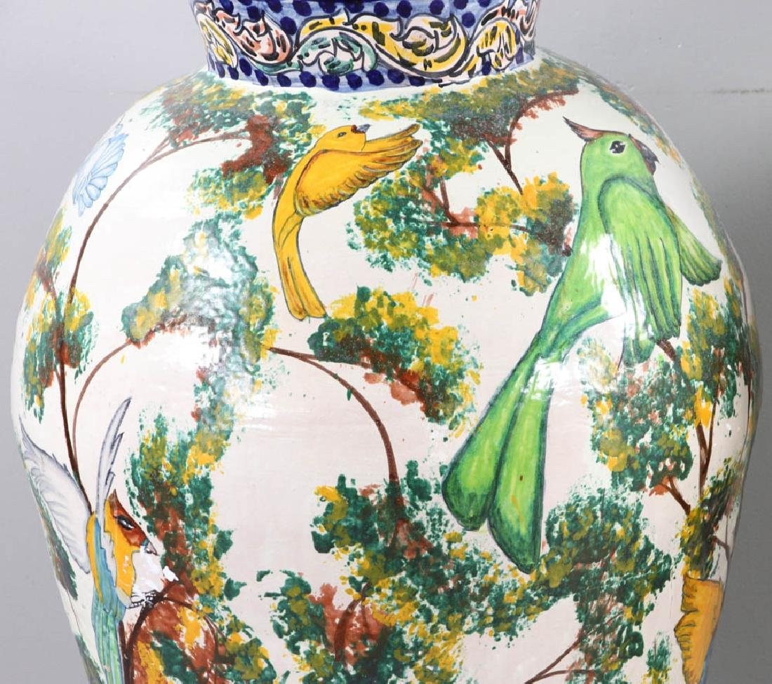 Majolica Decorated Covered Urns - 7