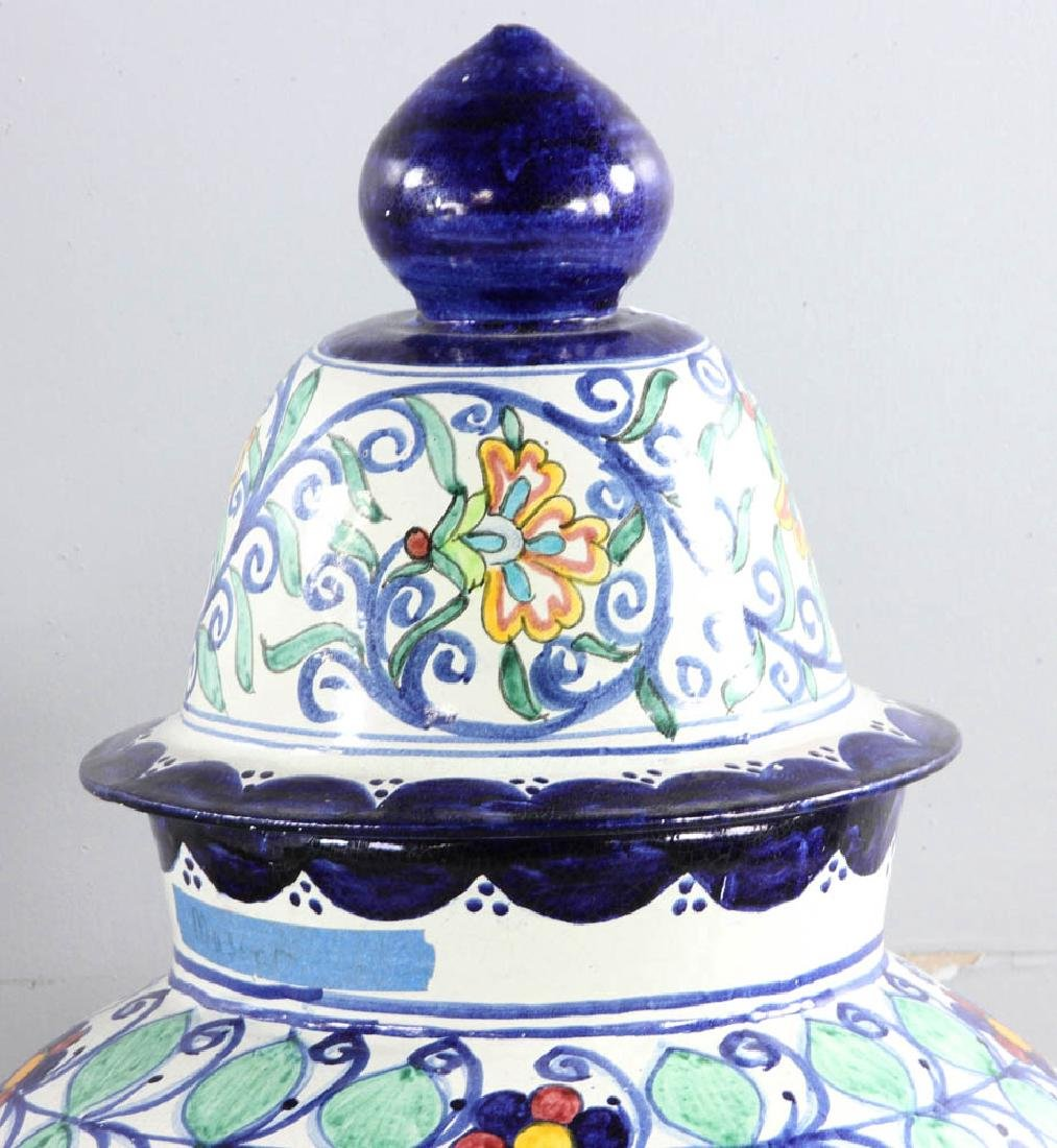 Majolica Decorated Covered Urns - 9
