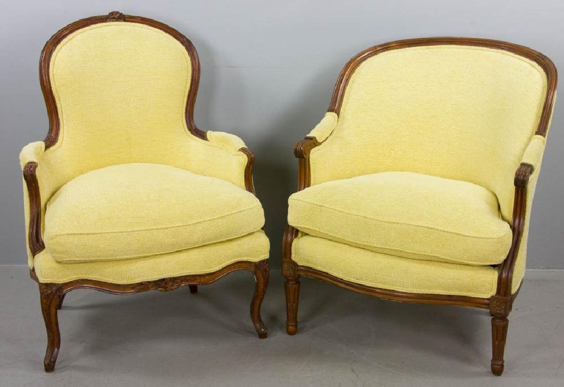 Two French Yellow Upholstered Armchairs