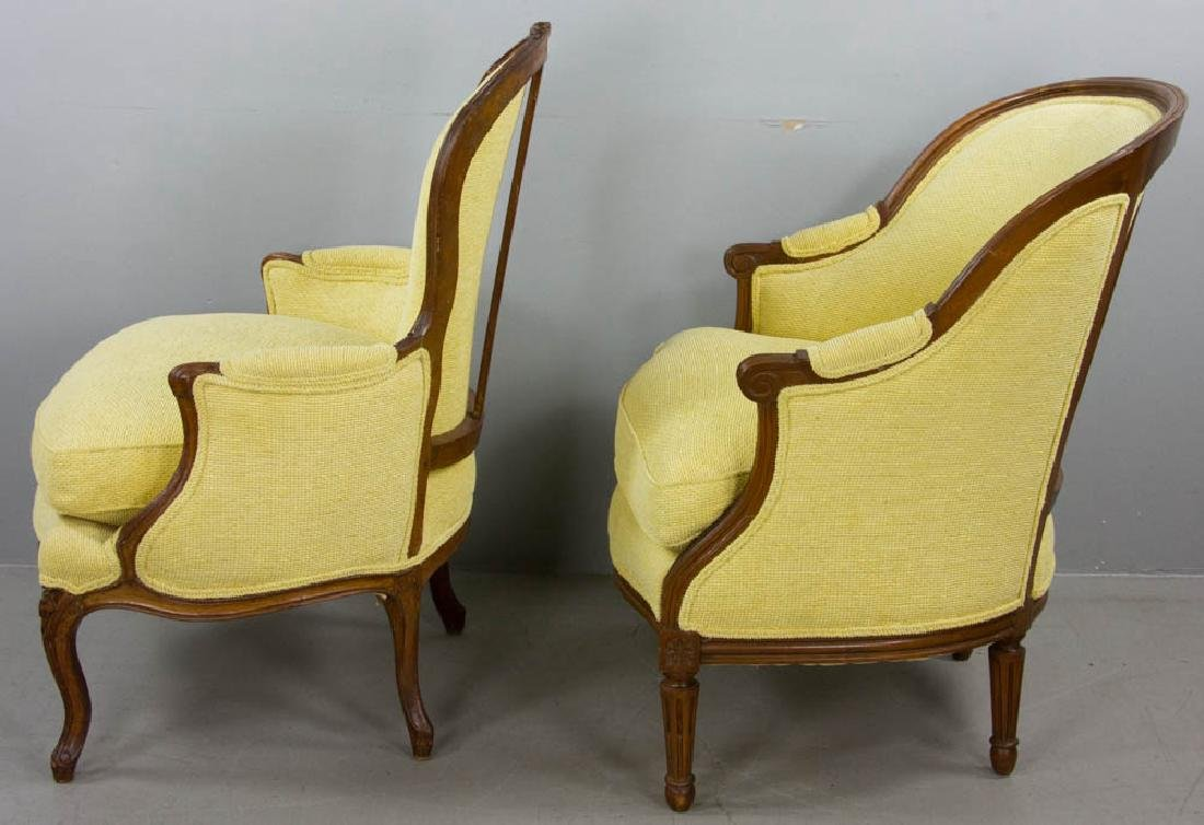 Two French Yellow Upholstered Armchairs - 2