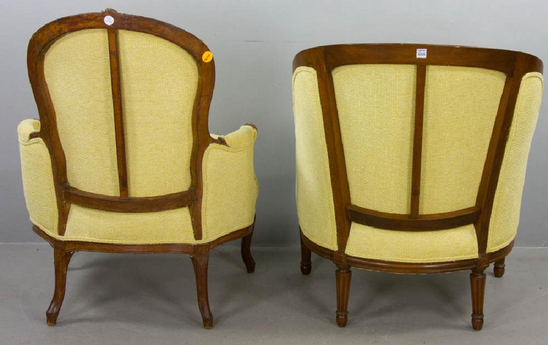 Two French Yellow Upholstered Armchairs - 3