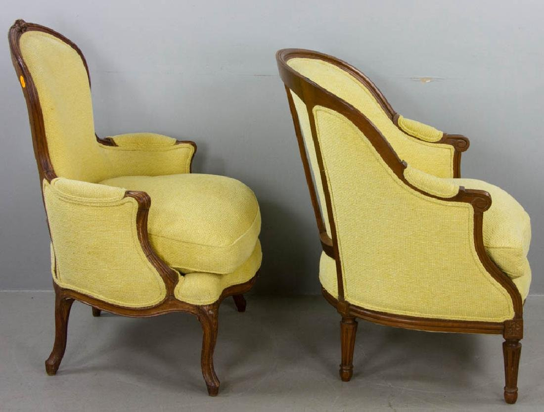 Two French Yellow Upholstered Armchairs - 4