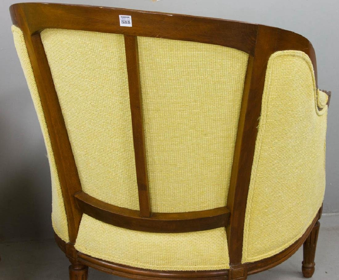 Two French Yellow Upholstered Armchairs - 5