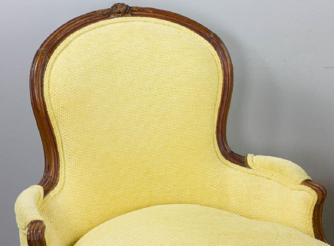 Two French Yellow Upholstered Armchairs - 6