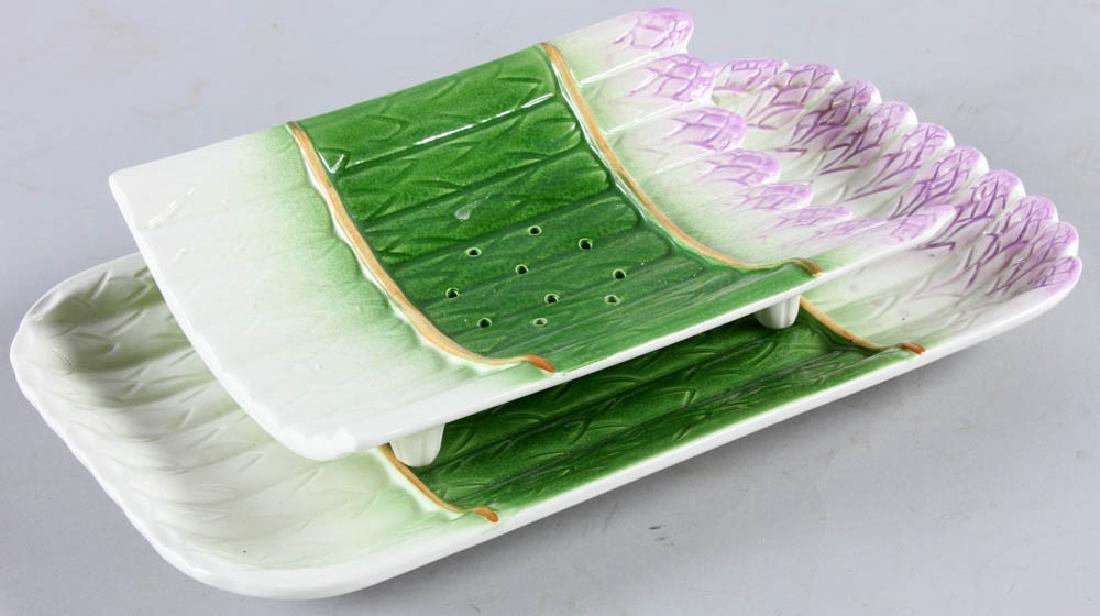 20th C. Portuguese Majolica Asparagus Dish