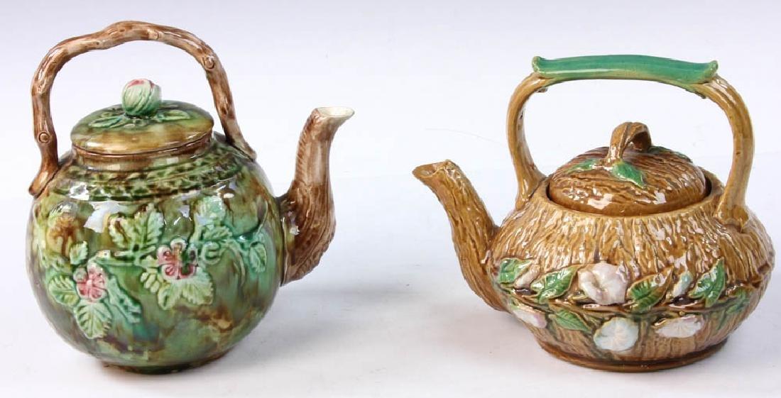 Pair of Majolica Teapots