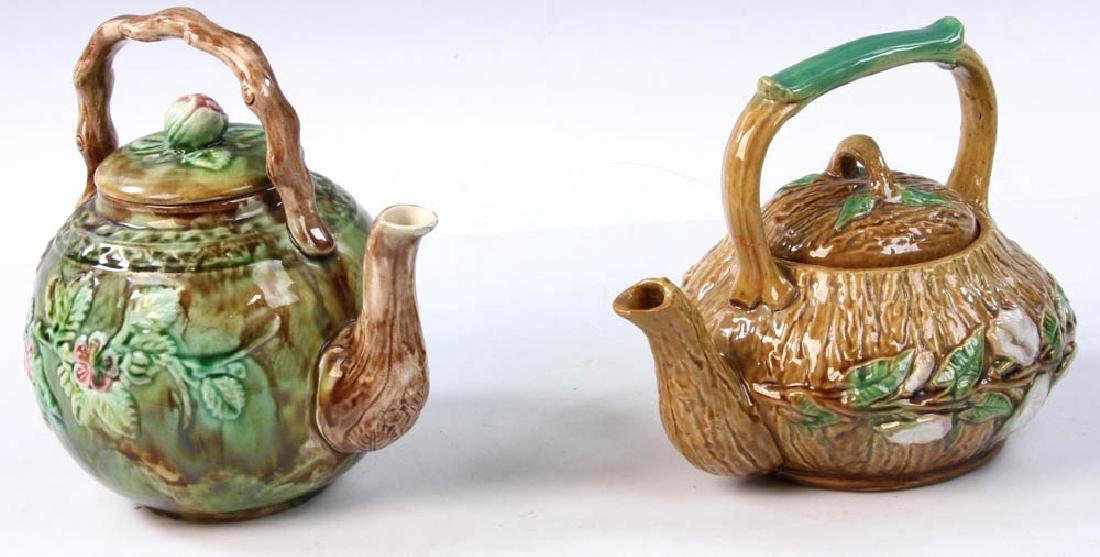 Pair of Majolica Teapots - 2