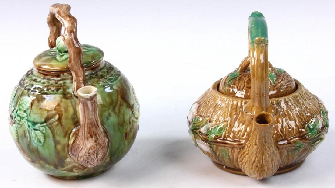 Pair of Majolica Teapots - 3