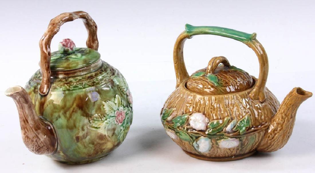 Pair of Majolica Teapots - 4