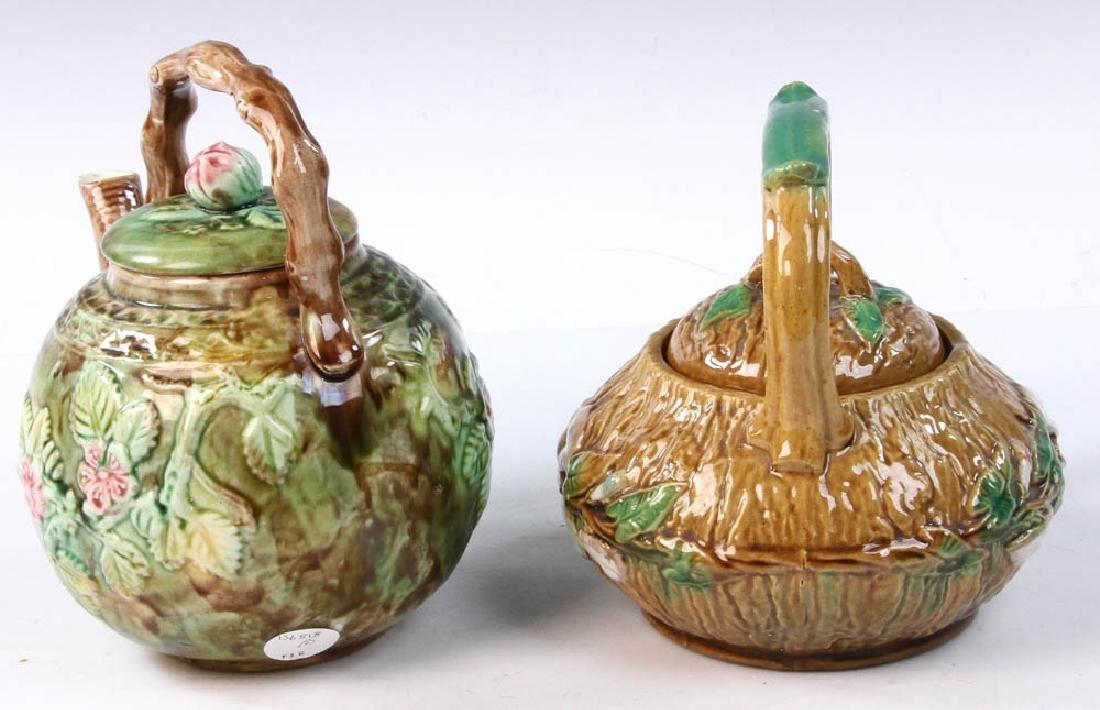 Pair of Majolica Teapots - 5