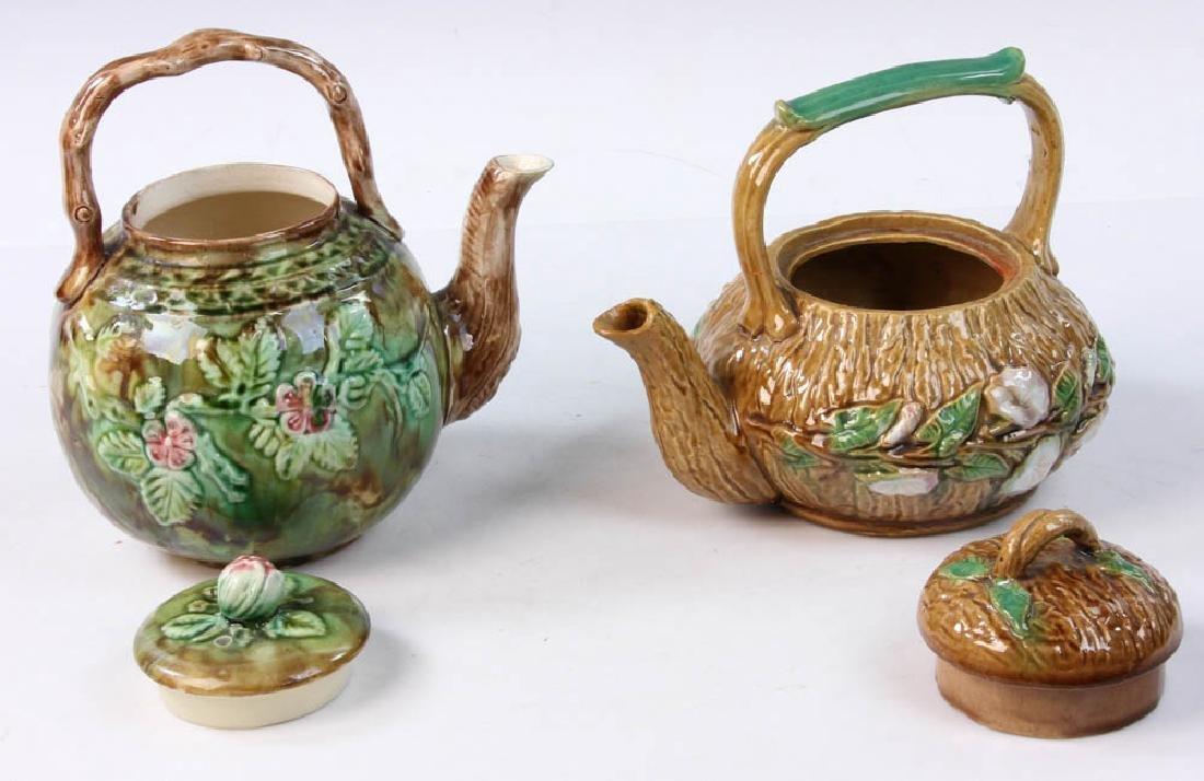 Pair of Majolica Teapots - 6